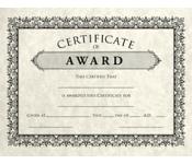 8 1/2 x 11 Certificates - Award
