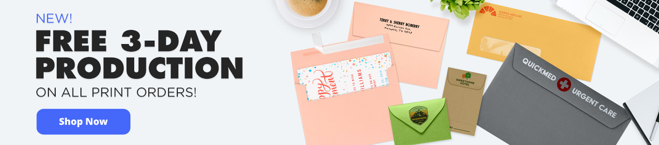Free 3-Day Production on All Print Orders   Envelopes.com