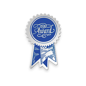 1 1/4 x 2 Embossed Foil Seal Silver Blue Ribbon